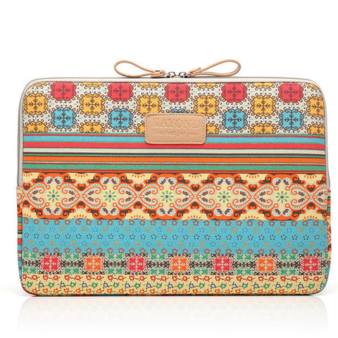 Bohemian Retro Style Canvas Fabric Computer Sleeve Bag Case for Macbook Laptop - Acyc - 1