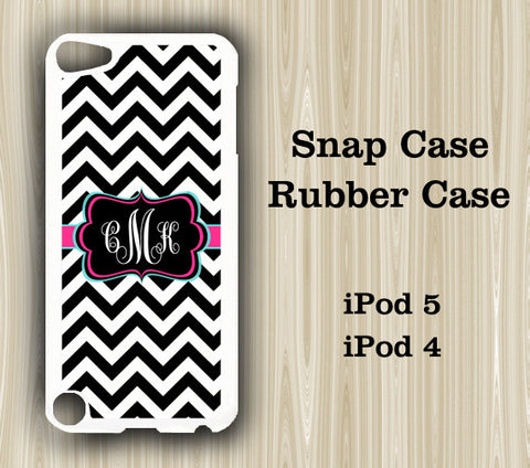 Black and White Chevron Monogram iPod Touch 5 Case iPod Touch 4 Case - Acyc - 1