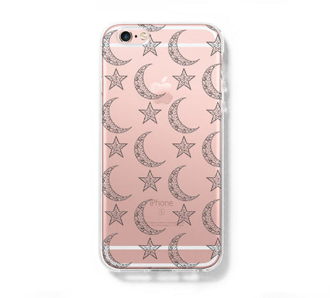 Moon and Stars iPhone 6s Clear Case iPhone 6 plus Cover iPhone 5s 5 5c Transparent Case Galaxy S6 Edge S6 S5 Case - Acyc - 1