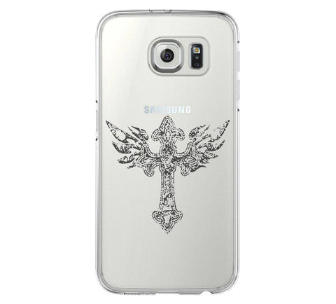 Cross Tatoo Samsung Galaxy S6 Edge Clear Case Galaxy S6 Transparnet Case S5 Hard Case iPhone Crystal  Case - Acyc - 1