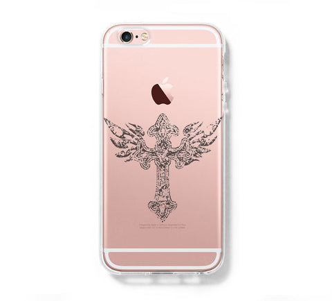 Cross Tatoo iPhone 6s 6 Clear Case iPhone 6 plus Cover iPhone 5s 5 5c Transparent Case Galaxy S6 Edge S6 S5 Case - Acyc - 1