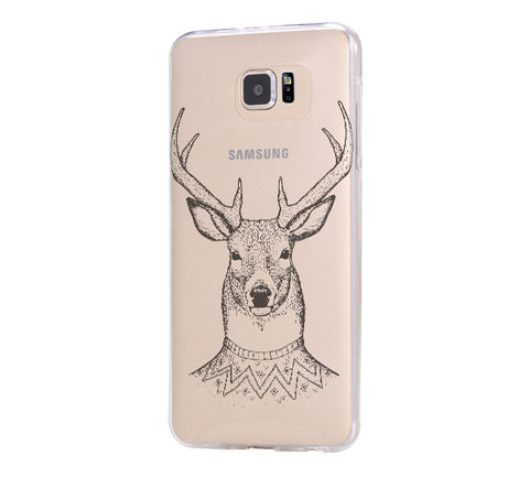 Tribal Deer Samsung Galaxy S6 Edge Clear Case Galaxy S6 Transparnet Case S5 Hard Case iPhone Crystal  Case - Acyc - 1