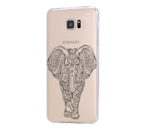 Tribal Elephant Samsung Galaxy S6 Edge Clear Case Galaxy S6 Transparnet Case S5 Hard Case iPhone Crystal  Case - Acyc - 1