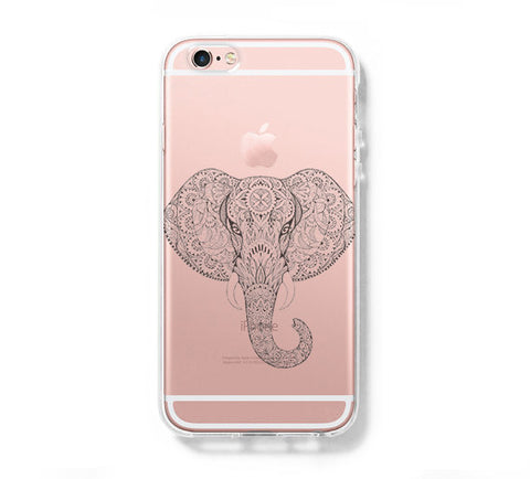 Ethinic Elephant Animal iPhone 6s 6 Clear Case iPhone 6 plus Cover iPhone 5s 5 5c Transparent Case Galaxy S6 Edge S6 S5 Case - Acyc - 1