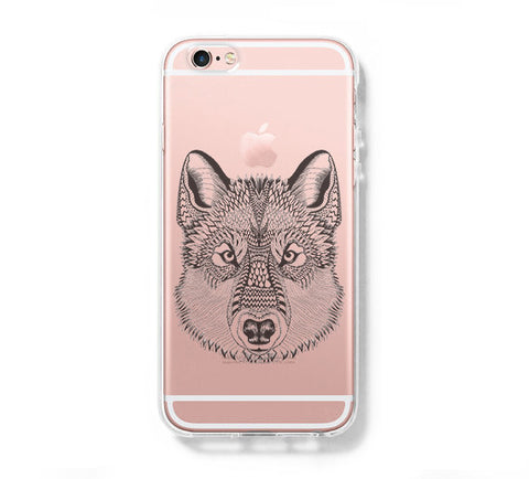 Wolf Head iPhone 6s 6 Clear Case iPhone 6 plus Cover iPhone 5s 5 5c Transparent Case Galaxy S6 Edge S6 S5 Case - Acyc - 1