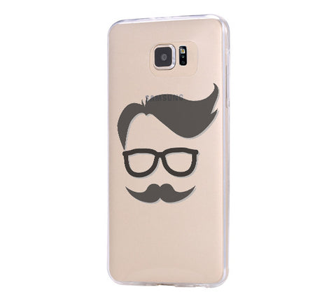 Mustache Glasses Samsung Galaxy S6 Edge Clear Case Galaxy S6 Transparnet Case S5 Hard Case iPhone Crystal  Case - Acyc - 1