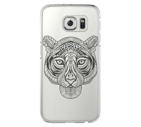 Tiger Tribal Style Samsung Galaxy S6 Edge Clear Case Galaxy S6 Transparnet Case S5 Hard Case iPhone Crystal  Case - Acyc - 1