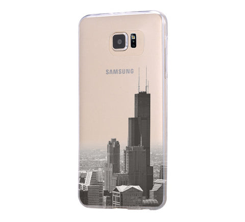 Chicago cityscape Samsung Galaxy S6 Edge Clear Case Galaxy S6 Transparnet Case S5 Hard Case iPhone Crystal  Case - Acyc - 1
