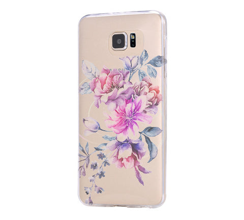 Pastrl Pink Floral  Samsung Galaxy S6 Edge Clear Case Galaxy S6 Transparnet Case S5 Hard Case iPhone Crystal  Case - Acyc - 1