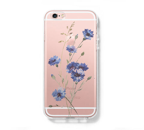 Wild Floral Blue iPhone 6s 6 Clear Case iPhone 6 plus Cover iPhone 5s 5 5c Transparent Case Galaxy S6 Edge S6 S5 Case - Acyc - 1