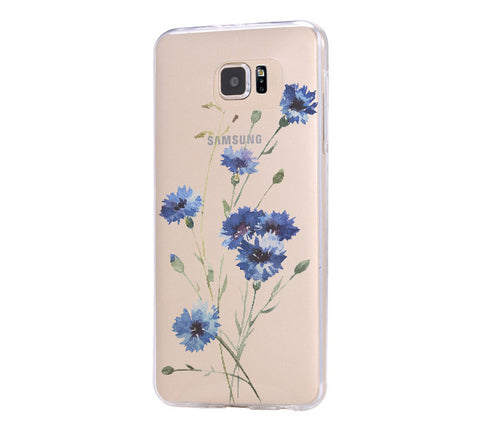 Wild Flower Blue  Samsung Galaxy S6 Edge Clear Case Galaxy S6 Transparnet Case S5 Hard Case iPhone Crystal  Case - Acyc - 1