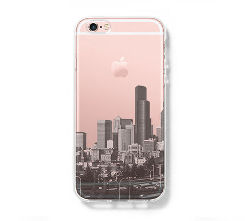 Seattle Skyline Washington USA iPhone 6s 6 Clear Case iPhone 6 plus Cover iPhone 5s 5 5c Transparent Case Galaxy S6 Edge S6 S5 Case - Acyc - 1