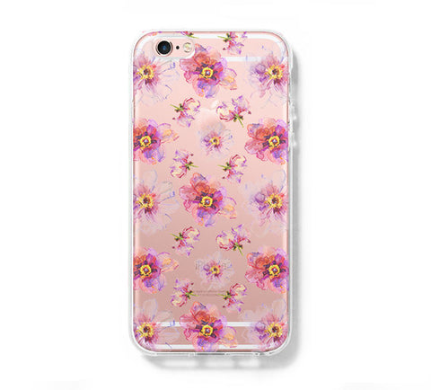 Abstract Pink Floral iPhone 6s 6 Clear Case iPhone 6 plus Cover iPhone 5s 5 5c Transparent Case Galaxy S6 Edge S6 S5 Case - Acyc - 1