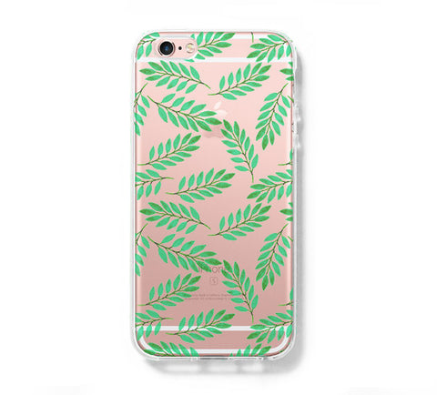 Green Leaf iPhone 6s 6 Clear Case iPhone 6 plus Cover iPhone 5s 5 5c Transparent Case Galaxy S6 Edge S6 S5 Case - Acyc - 1