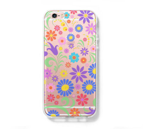 Colorful Floral  iPhone 6s 6 Clear Case iPhone 6 plus Cover iPhone 5s 5 5c Transparent Case Galaxy S6 Edge S6 S5 Case - Acyc - 1