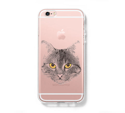 Cat Wild Face iPhone 6s 6 Clear Case iPhone 6 plus Cover iPhone 5s 5 5c Transparent Case Galaxy S6 Edge S6 S5 Case - Acyc - 1