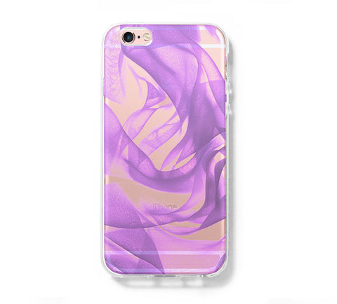 Fabric Silk Purple iPhone 6s 6 Clear Case iPhone 6 plus Cover iPhone 5s 5 5c Transparent Case Galaxy S6 Edge S6 S5 Case - Acyc - 1