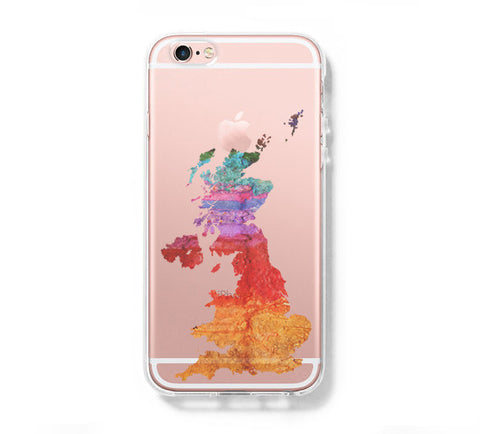 United Kingdom Watercolor Map iPhone 6s 6 Clear Case iPhone 6 plus Cover iPhone 5s 5 5c Transparent Case Galaxy S6 Edge S6 S5 Case - Acyc - 1