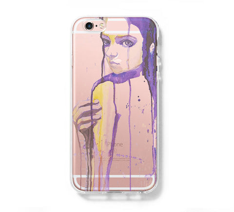 Watercolor Purple Girl  iPhone 6s 6 Clear Case iPhone 6 plus Cover iPhone 5s 5 5c Transparent Case Galaxy S6 Edge S6 S5 Case - Acyc - 1