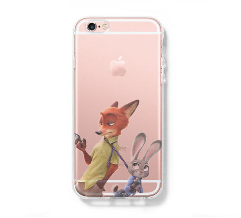 Zootopia  Rabbit Judy Hopps & Nick Wilde iPhone 6s 6 Clear Case iPhone 6 plus Cover iPhone 5s 5 5c Transparent Case Galaxy S6 Edge S6 S5 Case - Acyc - 1