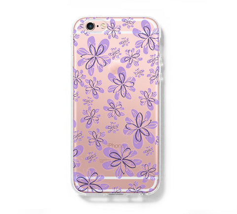 Purple Floral Pattern iPhone 6s 6 Clear Case iPhone 6S/6 Plus Cover iPhone 5s 5 5c Transparent Case Galaxy S6 Edge S6 S5 Case - Acyc - 1