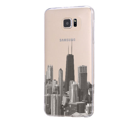 Chicago Skyline Samsung Galaxy S6 Edge Clear Case Galaxy S6 Transparnet Case S5 Hard Case iPhone Crystal  Case - Acyc - 1