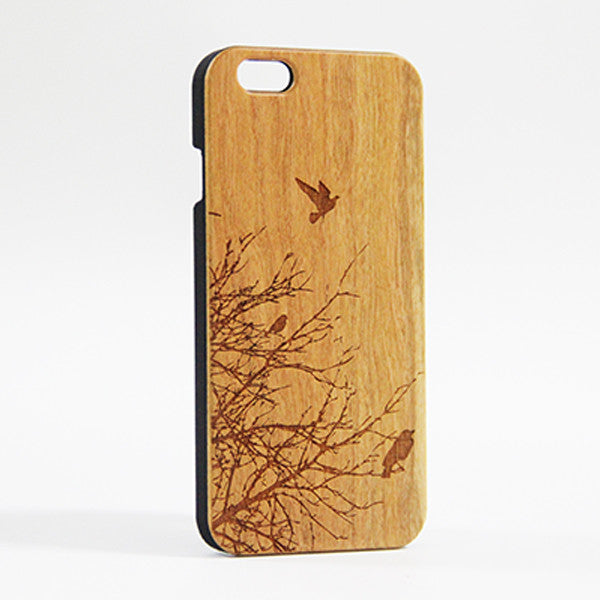 new arrival c17d6 2ccc1 Flying Birds Tree Real Wood Engraved iPhone 6 Case/Plus/5s/5