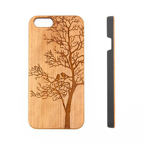 Loving Birds Tree Natural Wood Engraved iPhone 6S/6 Case/6S Plus/6 PLUS/5S/5 - Acyc - 1