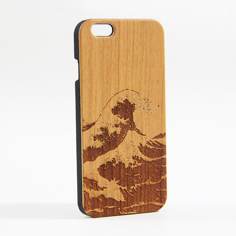 Japanese Wave Wood Engraved iPhone 6S Case/Plus/5s/5 - Acyc - 1