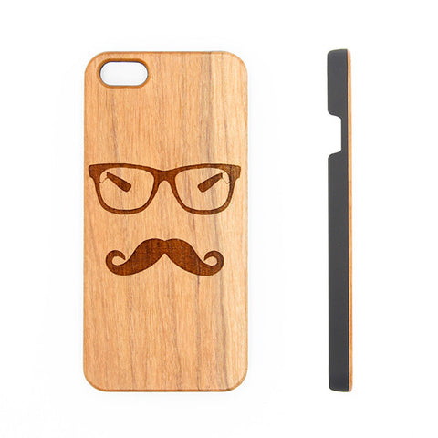 Glasses Mustache Natural Wood Engraved iPhone 6s Case iPhone 6s plus Cover iPhone 6 5s 5 Real Wooden Case - Acyc - 1