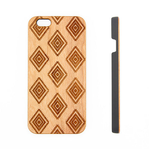 Aztec Geometric Natural Wood Engraved iPhone 6s Case iPhone 6s plus Cover iPhone 6 5s 5 Real Wooden Case - Acyc - 1