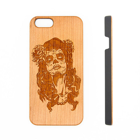 Woman Tatoo Natural Wood Engraved iPhone 6s Case iPhone 6s plus Cover iPhone 6 5s 5 Real Wooden Case - Acyc - 1