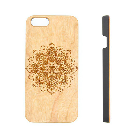 Retro Lace Floral Natural Wood Engraved iPhone 6s Case iPhone 6s plus Cover iPhone 6 5s 5 Real Wooden Case - Acyc - 1