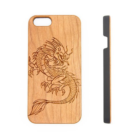 Antique Dragon Natural Wood Engraved iPhone 6s Case iPhone 6s plus Cover iPhone 6 5s 5 SE Galaxy S7 Real Wooden Case - Acyc - 1