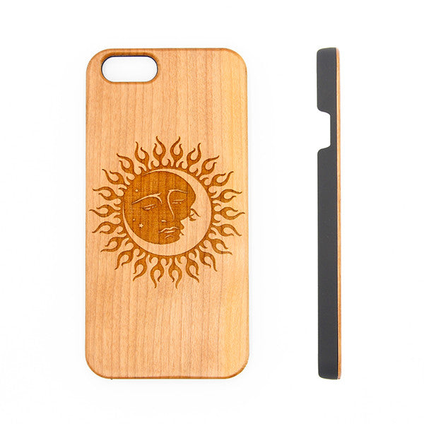 newest 71add bd7f8 Sun and Moon Natural Wood Engraved iPhone 6s Case iPhone 6s plus Cover  iPhone 6 5s 5 Real Wooden Case