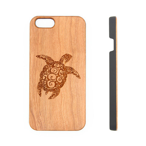 Sea Turtle Natural Wood Engraved iPhone 6s Case iPhone 6s plus Cover iPhone 6 5s 5 Real Wooden Case - Acyc - 1