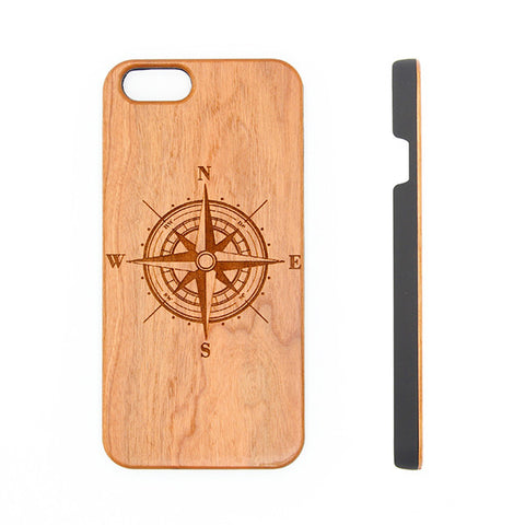 Travel Compass Natural Wood Engraved iPhone 6s Case iPhone 6s plus Cover iPhone 6 5s 5 Real Wooden Case - Acyc - 1