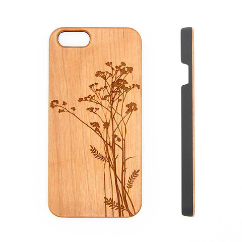 Poppy Floral  Wood Engraved iPhone 6s Case iPhone 6s plus Cover iPhone 6 5s 5 Real Wooden Case - Acyc - 1