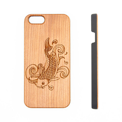 Koi Fish Wood Engraved iPhone 6s Case iPhone 6s plus Cover iPhone 6 5s 5 Real Wooden Case - Acyc - 1