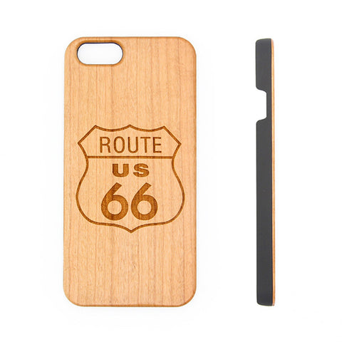 Travel Along the Route 66 in America Wood Engraved iPhone 6s Case iPhone 6s plus Cover iPhone 6 5s 5 Real Wooden Case - Acyc - 1