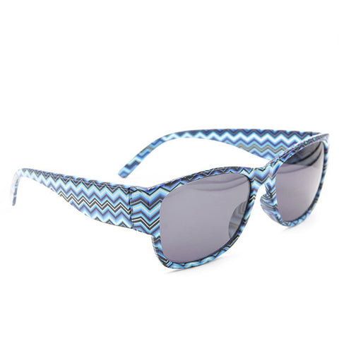 Blue Black Chevron Wayfarer Sunglass Stylish Summer Glasses - Acyc - 1