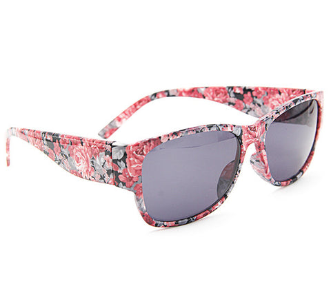 Chic Red Floral Women Wayfarer Sunglass Stylish Summer Glasses - Acyc - 1