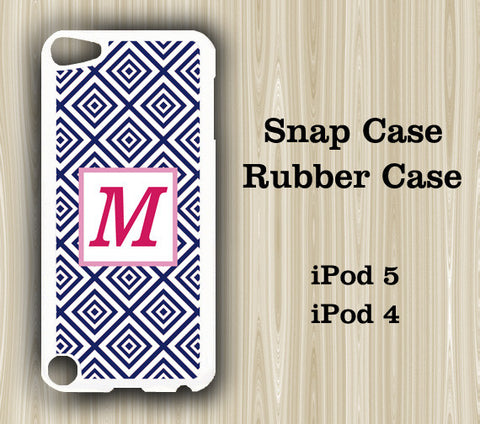 Geometric Pattern Blue Monogram iPod Touch 5 Case iPod Touch 4 Case - Acyc - 1