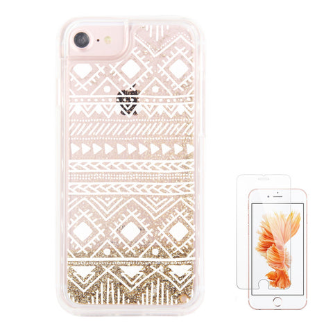 Gold Glitter Aztec Ethnic Waterfall Clear Protective iPhone 6S/6/7Case