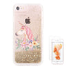 Gold Glitter Unicorn Floral Waterfall Clear Protective iPhone 6S/6/7 Case