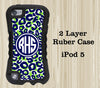 Green and Blue Leopard Arts Monogram iPod Touch 5 Case iPod Touch 4 Case - Acyc - 1