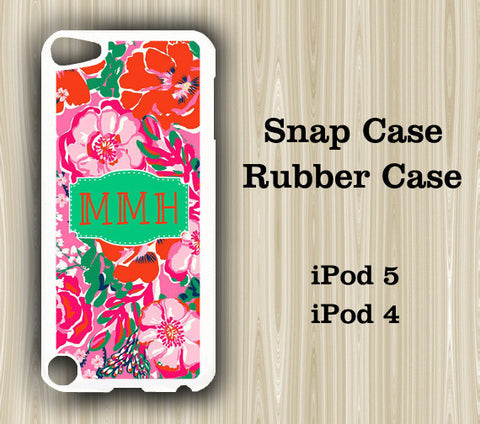 Green and Red Floral Monogram iPod Touch 5 Case iPod Touch 4 Case - Acyc - 1