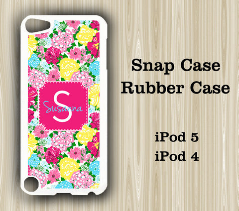 Hot Pink Floral Monogram iPod Touch 5 Case iPod Touch 4 Case - Acyc - 1