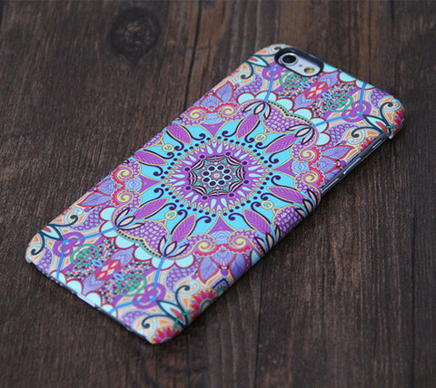 Tribal Ethnic Floral Violet iPhone 6 Plus/6/5S/5C/5/4S/4 Dual Layer Tough Case #608 - Acyc - 1
