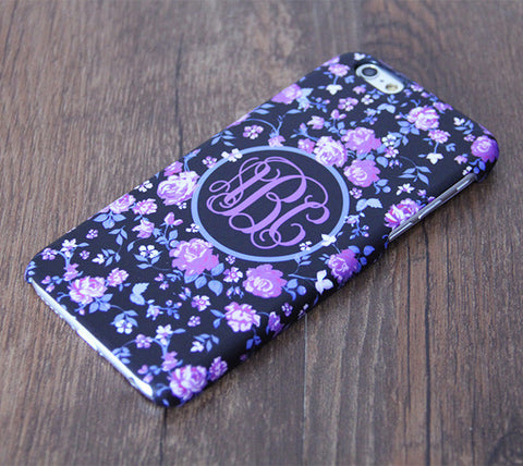 Violet Flowers Floral Pattern Monogram iPhone 6S 6 Plus 5S 5 5C Dual Layer Durable Tough Case #996 - Acyc - 1
